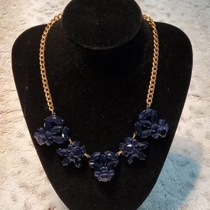 J.Crew Gold Tone and Navy Floral Fashion Necklace
